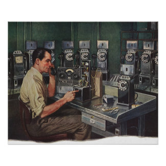 Vintage Business, Pay Phone Telephone Repairman Poster