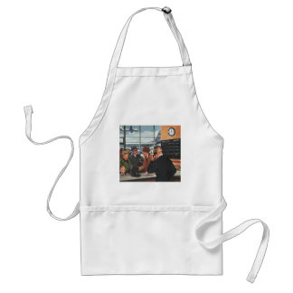 Vintage Business, People at Airline Ticket Counter Adult Apron