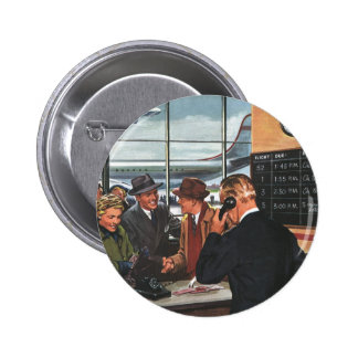 Vintage Business, People at Airline Ticket Counter Button