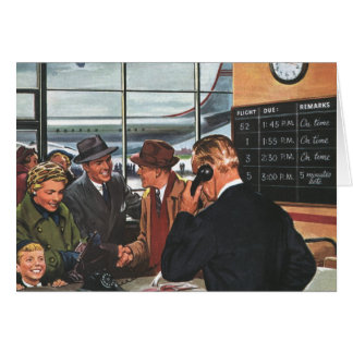 Vintage Business, People at Airline Ticket Counter Card