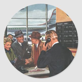 Vintage Business, People at Airline Ticket Counter Classic Round Sticker