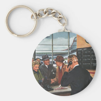Vintage Business, People at Airline Ticket Counter Keychain