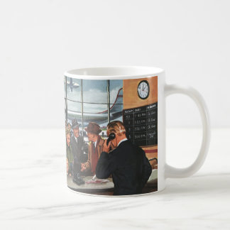 Vintage Business, People at Airline Ticket Counter Classic White Coffee Mug