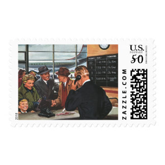 Vintage Business, People at Airline Ticket Counter Postage