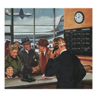 Vintage Business, People at Airline Ticket Counter Poster