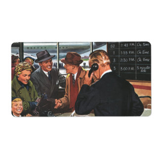 Vintage Business, People at Airline Ticket Counter Shipping Label