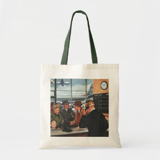 Vintage Business, People at Airline Ticket Counter Tote Bag