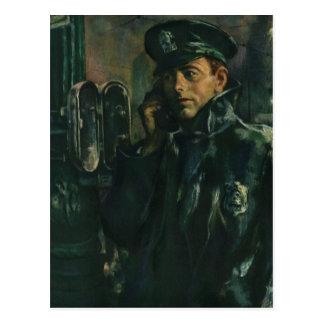 Vintage Business Policeman on Emergency Phone Post Card