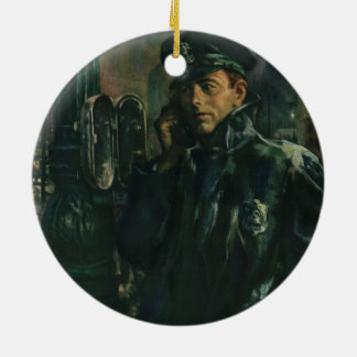 Vintage Business, Policeman on Emergency Telephone Ceramic Ornament
