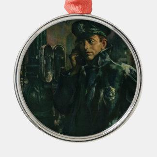 Vintage Business, Policeman on Emergency Telephone Metal Ornament
