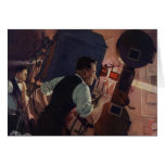 Vintage Business, Projectionist in a Movie Theater Greeting Cards