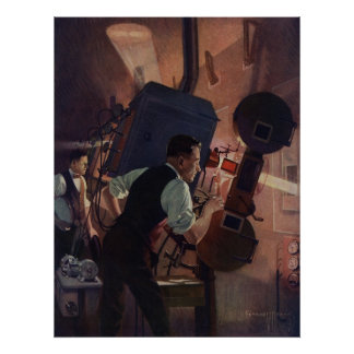 Vintage Business, Projectionist in a Movie Theater Posters