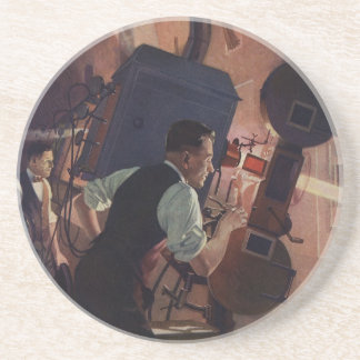 Vintage Business, Projectionist in a Movie Theater Sandstone Coaster