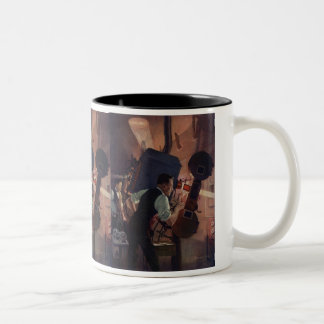 Vintage Business, Projectionist in a Movie Theater Two-Tone Coffee Mug