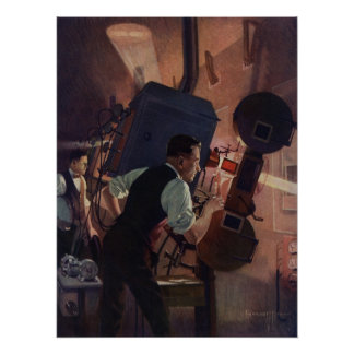 Vintage Business, Projectionist in a Movie Theater Perfect Poster