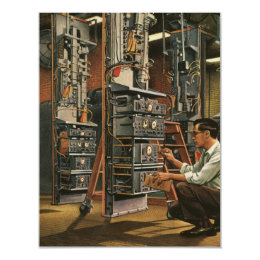 Vintage Business Radio Technician Fixing Equipment Card