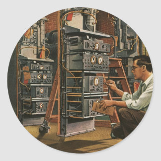 Vintage Business Radio Technician Fixing Equipment Classic Round Sticker