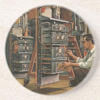 Vintage Business Radio Technician Fixing Equipment Coaster