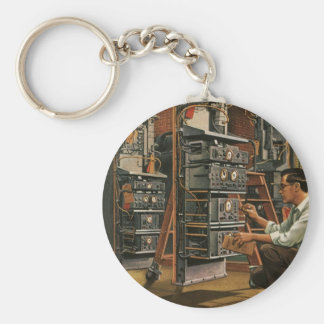 Vintage Business Radio Technician Fixing Equipment Keychain
