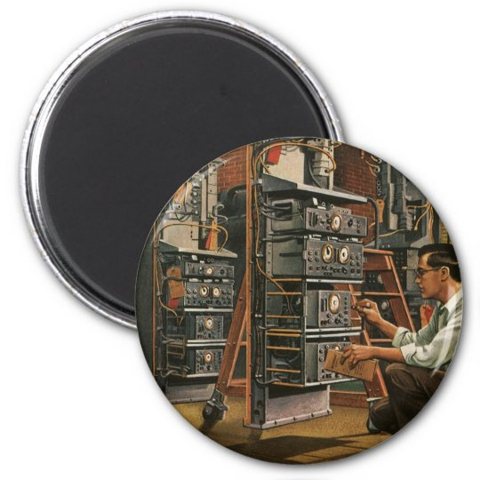 Vintage Business Radio Technician Fixing Equipment Magnet