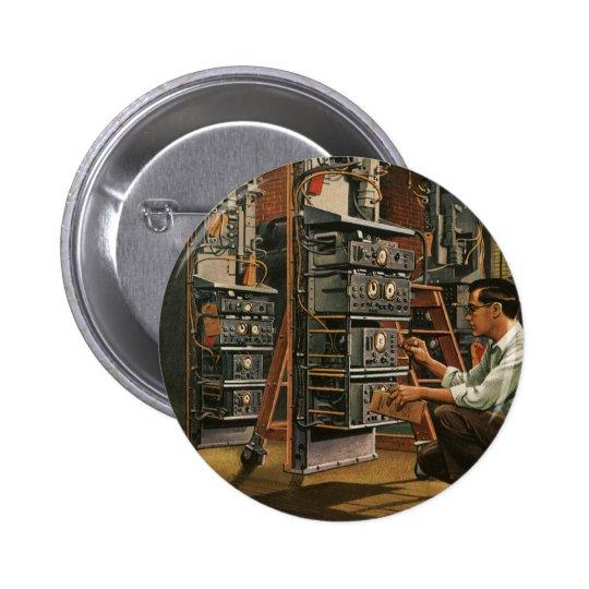 Vintage Business Radio Technician Fixing Equipment Pinback Button