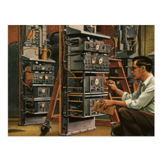 Vintage Business Radio Technician Fixing Equipment Postcards