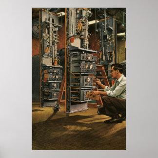 Vintage Business Radio Technician Fixing Equipment Poster