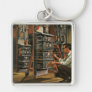 Vintage Business Radio Technician Fixing Equipment Silver-Colored Square Keychain