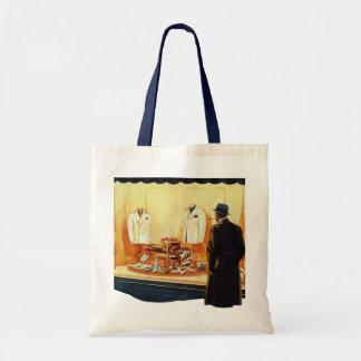 Vintage Business Retail, Man Window Shopping Store Tote Bag
