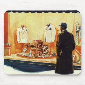 Vintage Business Retail, Man Window Shopping Store Mouse Pad