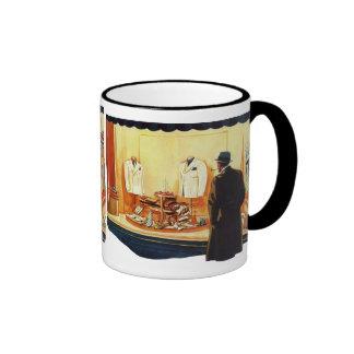Vintage Business Retail, Man Window Shopping Store Coffee Mugs