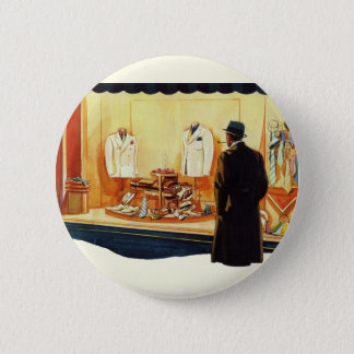 Vintage Business Retail Store, Man Window Shopping Button
