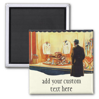 Vintage Business Retail Store, Man Window Shopping Magnet