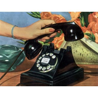 Vintage Business, Rotary Dial Phone and Hand Postcards