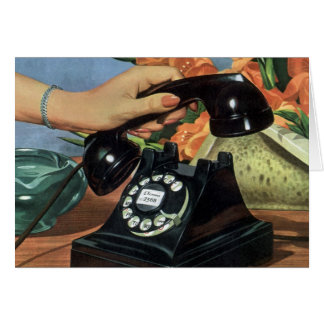 Vintage Business, Rotary Dial Phone Woman Hand Greeting Card