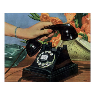 Vintage Business, Rotary Dial Phone Woman Hand Posters