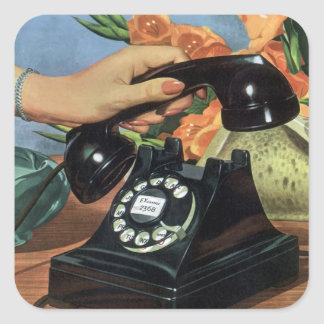 Vintage Business Rotary Dial Phone Woman Hand Square Stickers