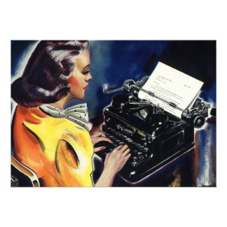 Vintage Business Secretary Typewriter Office Party Personalized Announcement