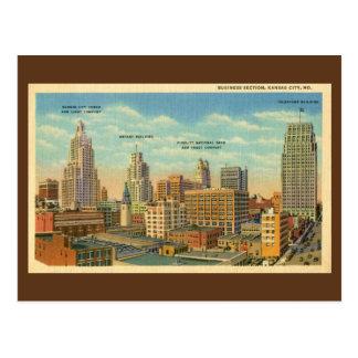 Vintage Business Section Kansas City, MO Postcard