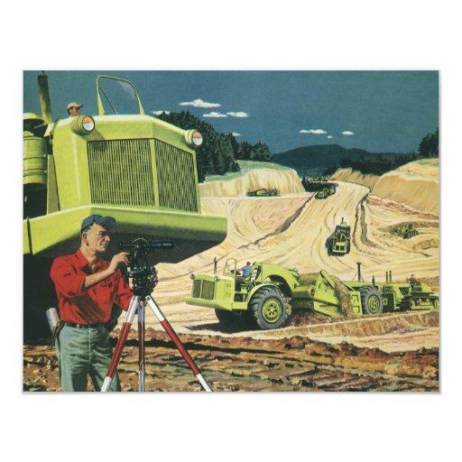 Vintage Business, Surveyor on a Construction Site Personalized Announcement