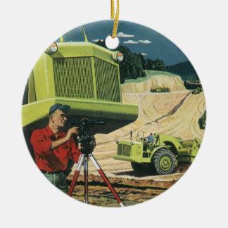 Vintage Business, Surveyor on a Construction Site Ornaments