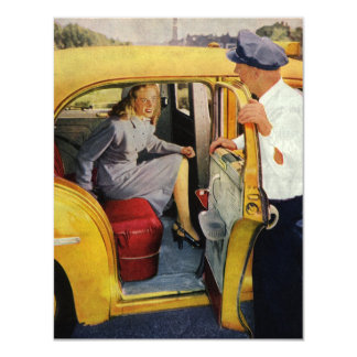 "Vintage Business, Taxi Cab Driver Female Passenger 4.25"" X 5.5"" Invitation Card"