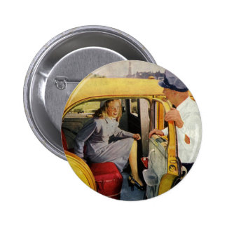 Vintage Business, Taxi Cab Driver Woman Passenger Button
