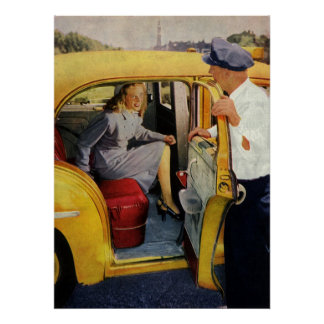 Vintage Business, Taxi Cab Driver Woman Passenger Poster