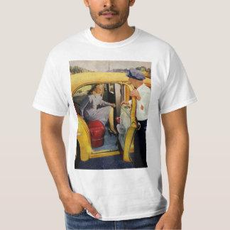 Vintage Business, Taxi Cab Driver Woman Passenger T-Shirt