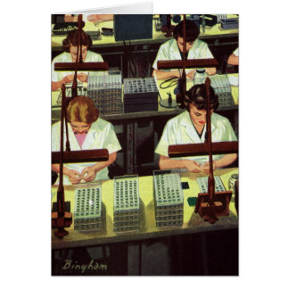 Vintage Business, Telephone Assembly Line Workers Card