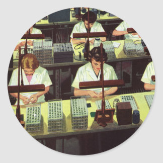 Vintage Business, Telephone Assembly Line Workers Classic Round Sticker
