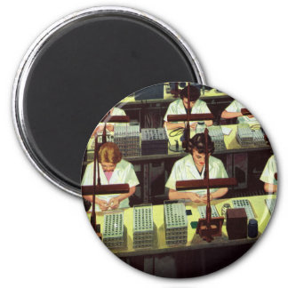Vintage Business, Telephone Assembly Line Workers 2 Inch Round Magnet