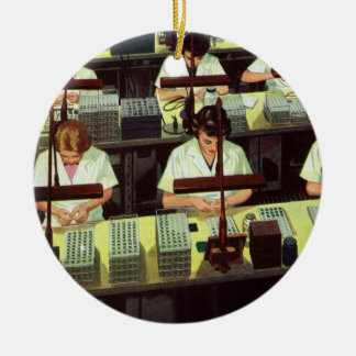 Vintage Business, Telephone Assembly Line Workers Ornaments