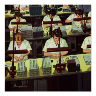 Vintage Business, Telephone Assembly Line Workers Print